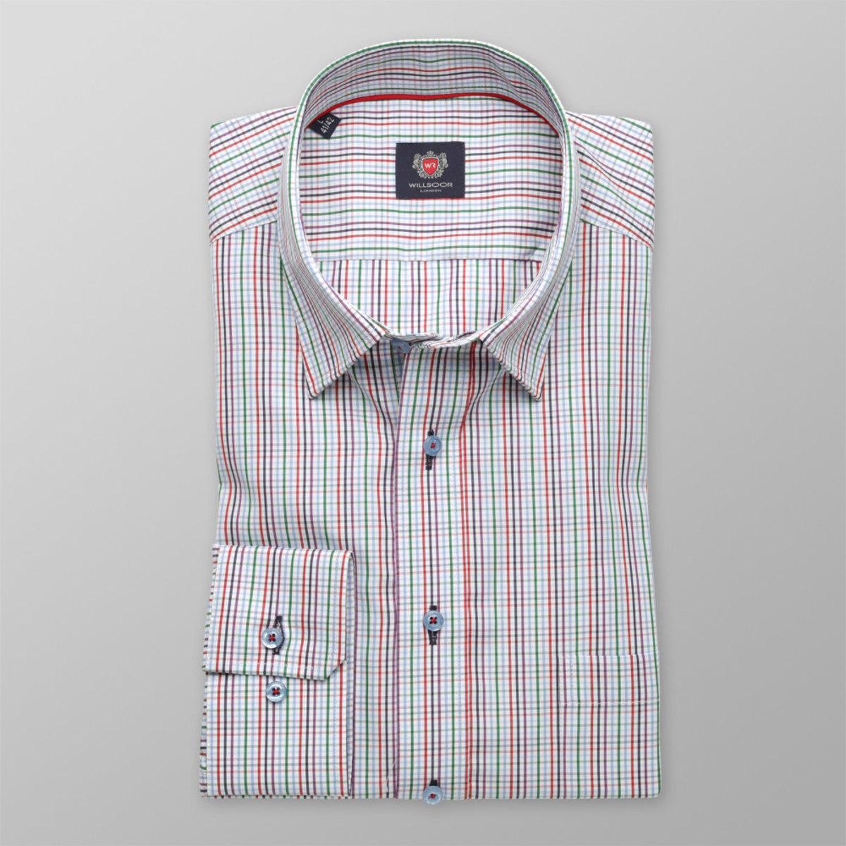 Pánská slim fit košile London (výška 176-182) 8637 v bílé barvě s kostičkou a úpravou easy care 176-182 / M (39/40)