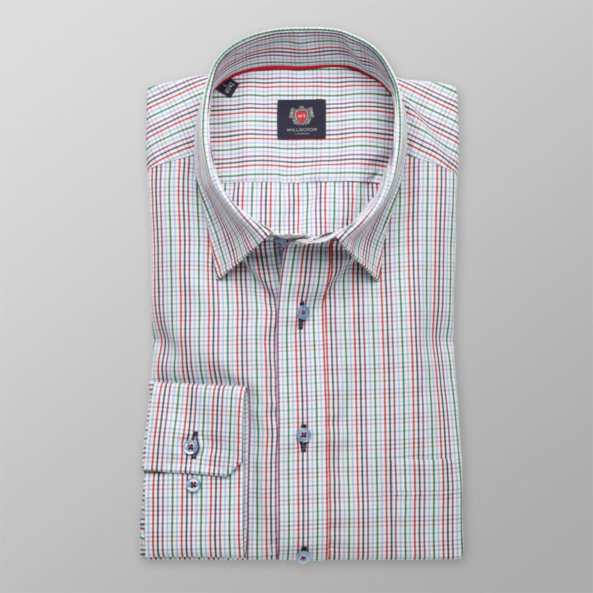 Pánská klasická košile London (výška 176-182) 8638 v bílé barvě s barevnou kostkou a úpravou easy care 176-182 / L (41/42)