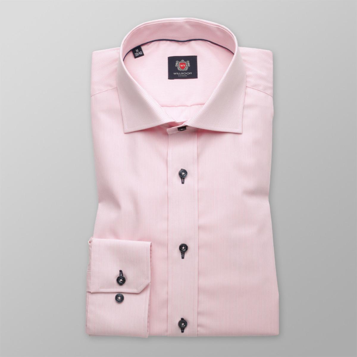 Pánská slim fit košile London (výška 176-182) 8745 v růžové barvě s úpravou 2W Plus 176-182 / M (39/40)