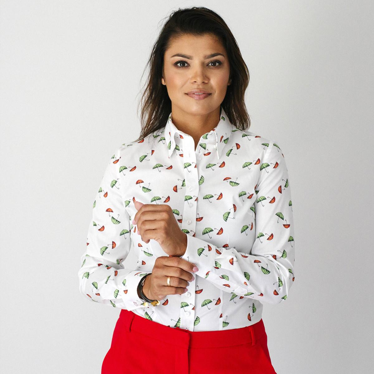 Moderní dámská košile se vzorem deštníků 9579 34