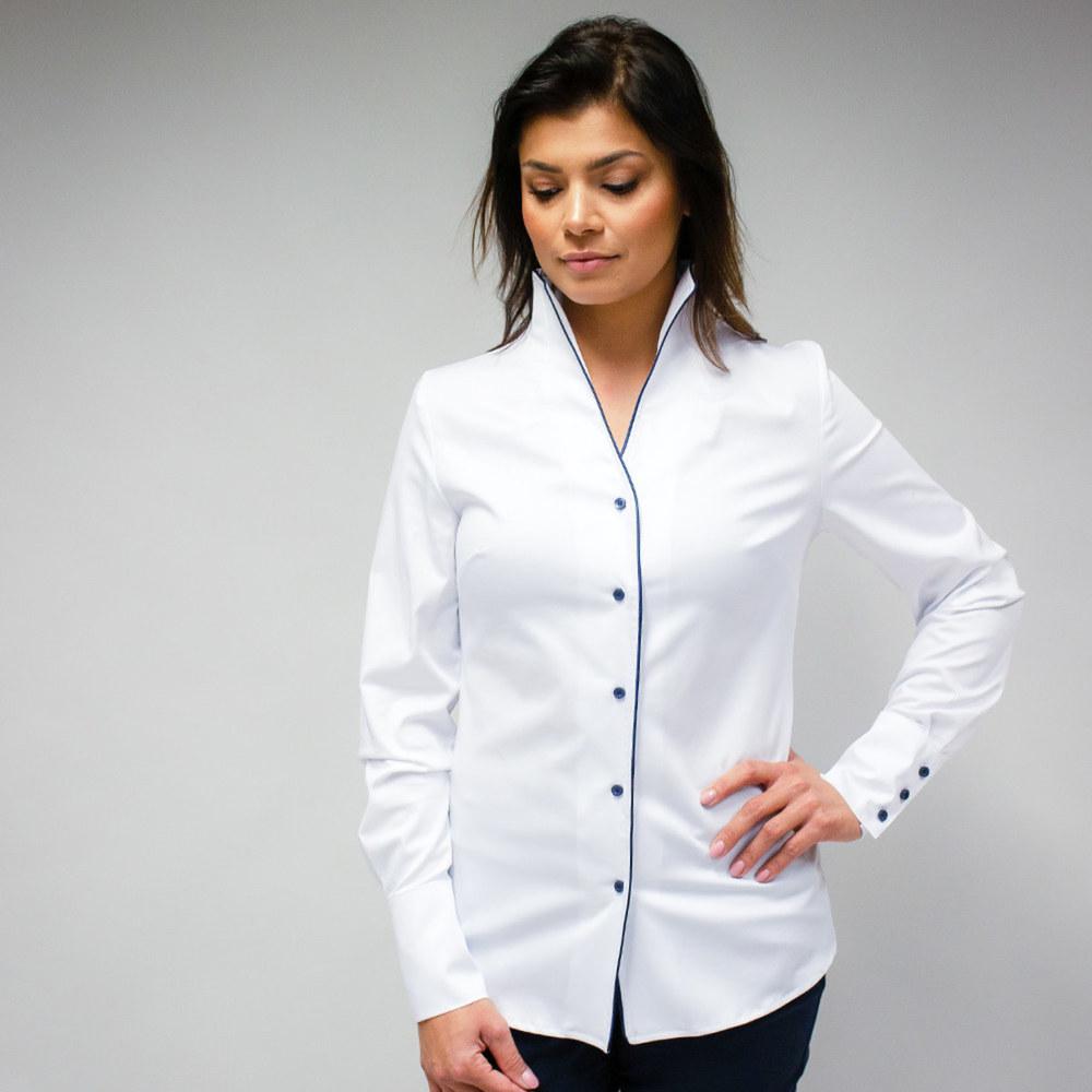 5e255dd7208 Dámská košile bílá s lemováním 10339 - Willsoor