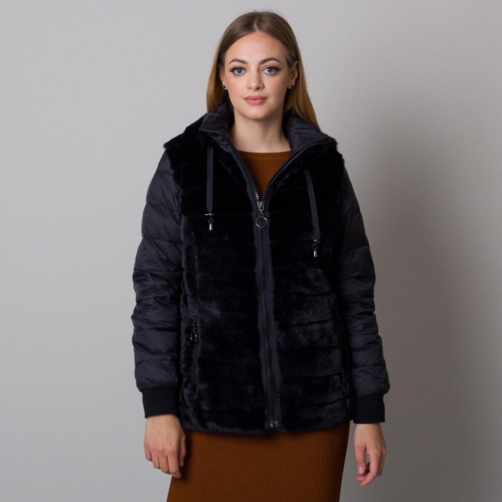 Dámská bunda černé barvy s kožešinou 13011 S