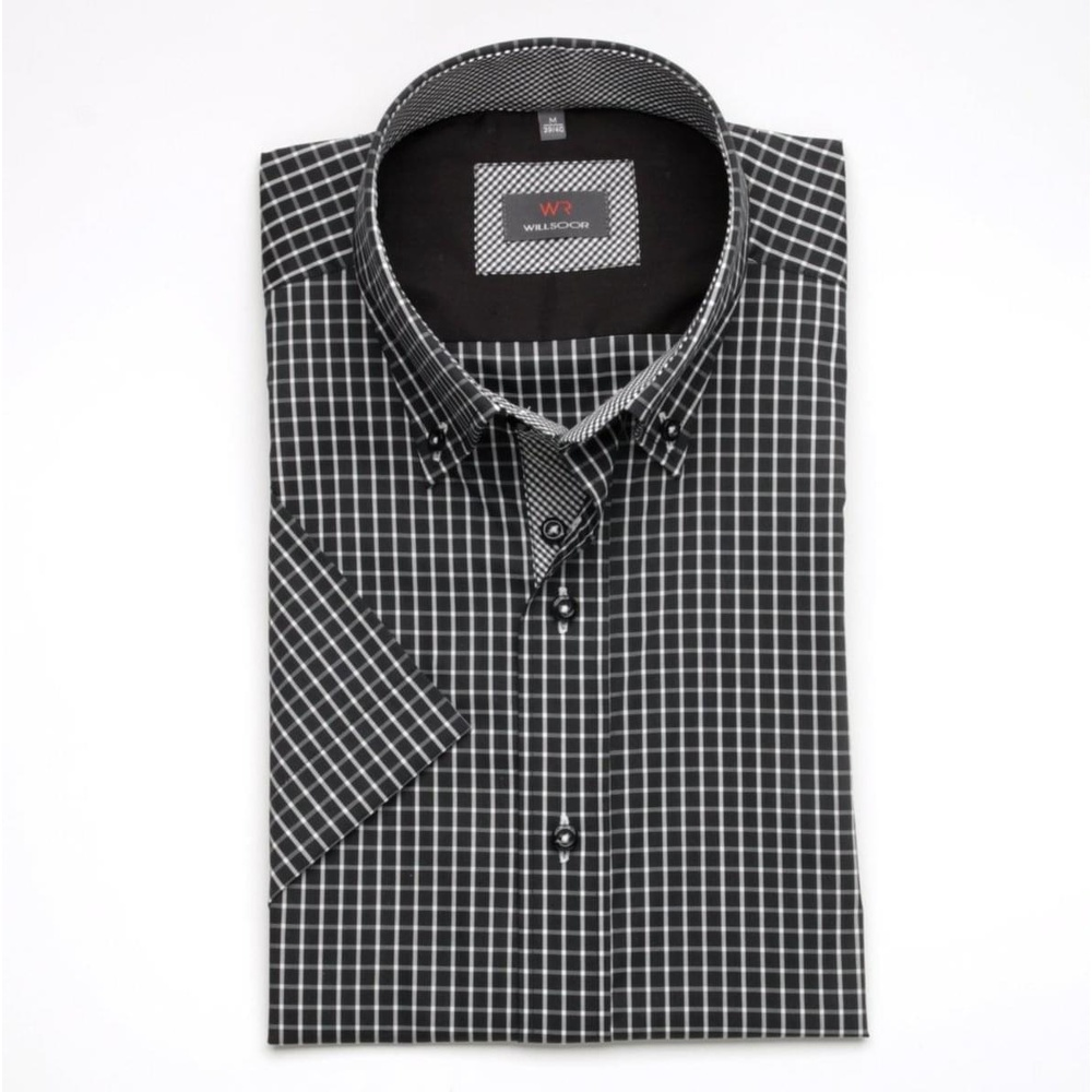 cd7b1c1defc Pánská košile WR Slim Fit s krátkým rukávem v černé barvě s bílou kostkou  (výška