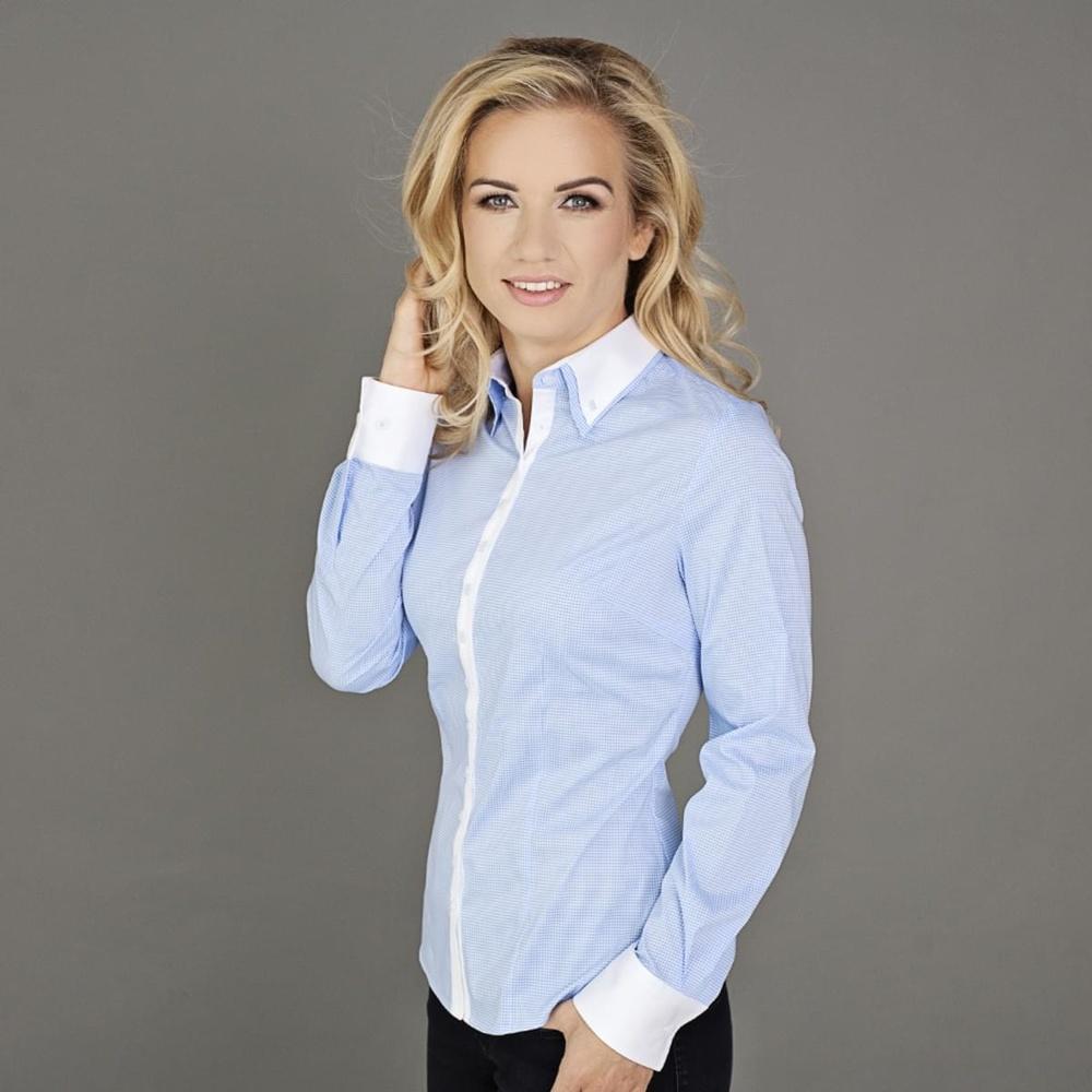 Dámská košile Willsoor 5142 s dlouhým rukávem v bílé barvě s kostkou gingham cbd35a097c
