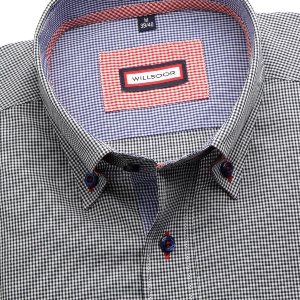 Pánská košile Slim Fit (výška 176-182) 5782 s jemnou tmavě modrou kostkou 7cfa93bb83