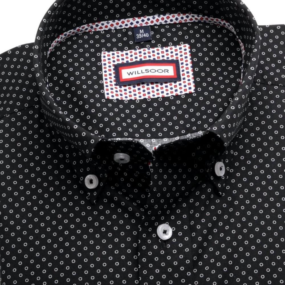 Pánská slim fit košile (výška 176-182) 6362 v černé barvě s límečkem ... d2b0591768