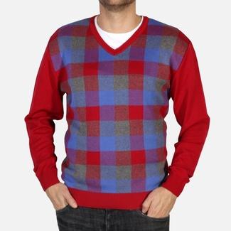 Pánský pulovr Willsoor 4871 v červené barvě s barevným kárem de9593e6d6